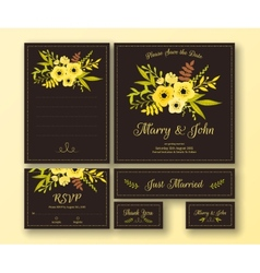 Wedding set of various cards vector