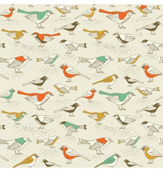 Retro sparrow birds pattern vector