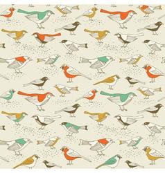 Retro sparrow birds pattern vector