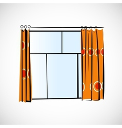 Window with curtains on a bright background vector