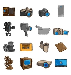 Photo video doodle icons colored vector