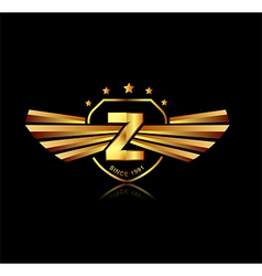 Letter z winged crests logo alphabet logotype vector