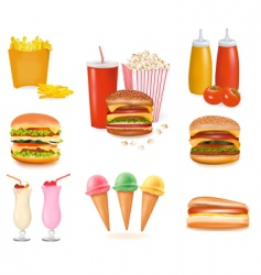 Hamburger popcorn set vector