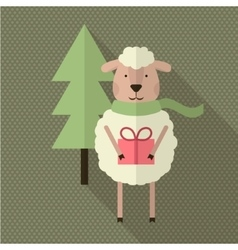 Sheep with gift and tree vector