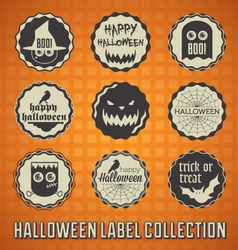Happy halloween labels and icons vector