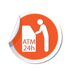 Atm cashpoint icon orange label vector