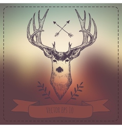Hipster style vintage elements with deer for retro vector