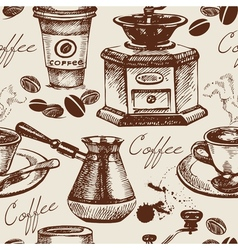 Hand drawn vintage coffee seamless pattern vector