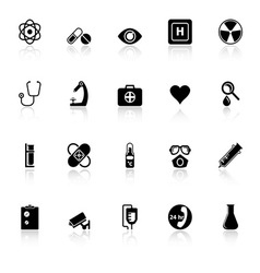 General hospital icons with reflect on white vector