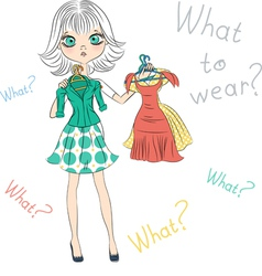 Beautiful surprised fashion girl trying on dresses vector