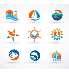Set of nautical sea icons and symbols vector