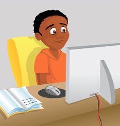 Boy studying computer vector
