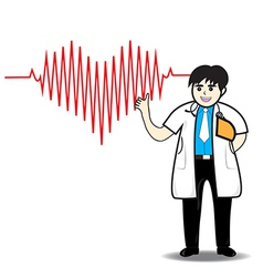 Doctor man red heart beats with cardiogram vector
