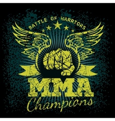 Mma labels on grunge background vector