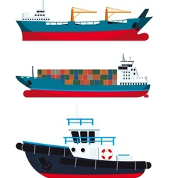 Cargo vessels and tugboat vector