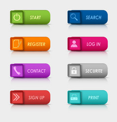 Colored set rectangular square web buttons design vector