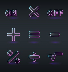Fluorescent neon calculator icons vector