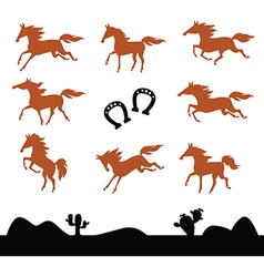 Collection silhouettes of horses vector