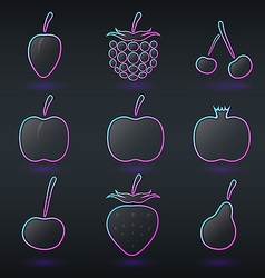Fluorescent neon fruits icons vector