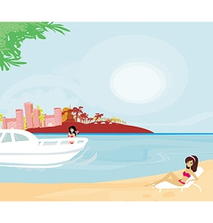 Woman relaxes in the tropics vector