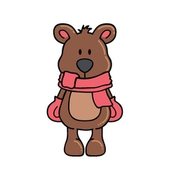 Winter bear with scarf and gloves vector