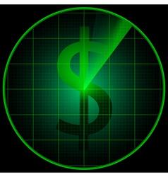 Radar screen with dollar symbol vector