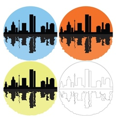Silhouette of the city on a colored background vector