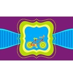 Bicycle on a label template background vector