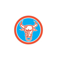 Bull cow head nose ring circle cartoon vector