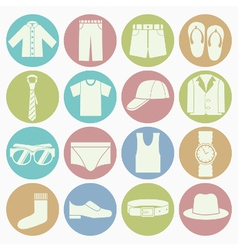 White icons gent clothes vector