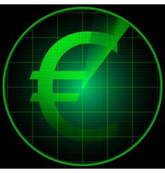 Radar screen with euro symbol vector