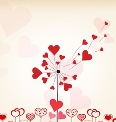 Dandelions hearts valentines day background vector