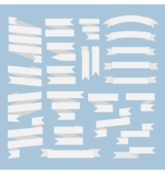 White ribbons set vector