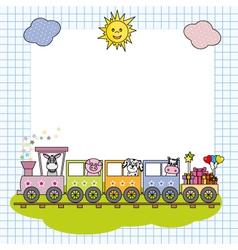 Train with farm animals vector