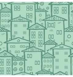 Doodle town houses seamless pattern background vector