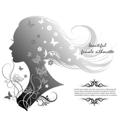 Silhouette of a beautiful woman with long hair vector