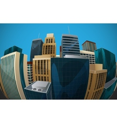 Fisheye lens cityscape view city vector