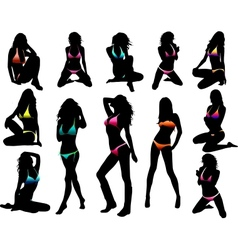 Bikini girls silhouette - vector