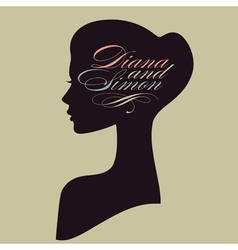 Beautiful female face silhouette in profile vector