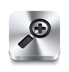Square metal button perspektive - zoom in icon vector