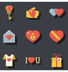 St valentines day symbols accessories icons set vector