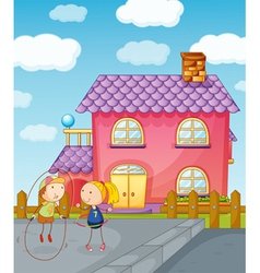 Kids playing skipping rope vector