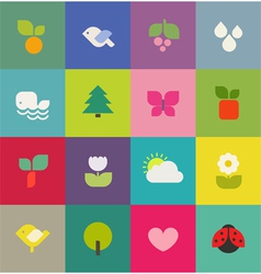 Colorful nature icons set vector