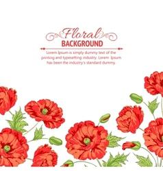 Red poppy card vector