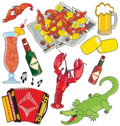 Cajun food and drinks vector