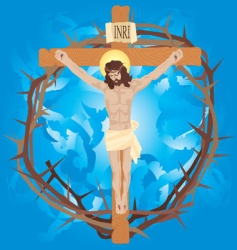 Jesus nailed to the cross vector