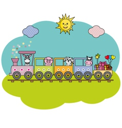 Children train with farm animals vector