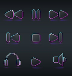 Fluorescent neon media buttons icon vector