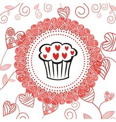 Cake romantic pattern background vector
