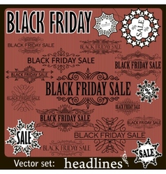 Black friday sale calligraphic design elements set vector